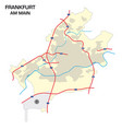 simple outline map city frankfurt am main vector image vector image