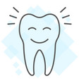 smiling tooth thin line icon stomatology vector image vector image
