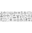 tableware on kitchen doodle set vector image