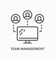 team work flat line icon outline vector image