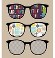 Three retro sunglasses with alphabet reflection vector image