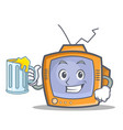 Tv character cartoon object with juice vector image