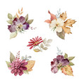watercolor set of autumn bouquets of flowers vector image vector image