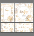 wedding templates set with hand drawn peony vector image