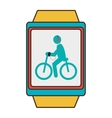 yellow square watch with cartoon human working out vector image vector image