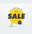 yellow tag on leg with big black sale text vector image