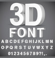 3d alphabet and numbers vector image vector image