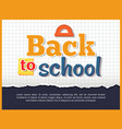 back to school posteron on checkered background vector image vector image