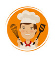 bakery cuisine logo cute chef in hat with vector image