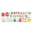 bbq and grill icons summer picnic with cooking vector image