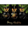 Black Christmas ball with ribbon and a bow vector image