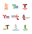 brand identity and business company t letters vector image vector image