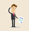 businessman take a business plan in hand vector image vector image