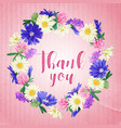 card with wild flowers wreath vector image vector image