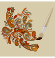 cartoon brush painting floral swirls vector image vector image
