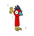 clockwork red bird in form letter i or vector image vector image