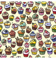 coloful cupcakes seamless background vector image vector image