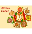 Colorful festive dishes of mexican cuisine symbol