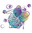 cute bunny with patterns vector image vector image