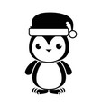 cute penguin with christmas hat kawaii vector image
