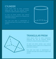 cylinder and triangular prism vector image vector image