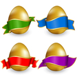 easter ribbon eggs vector image vector image