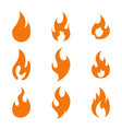 fire flame logo icon set of nine vector image vector image
