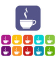 glass cup of tea icons set vector image vector image