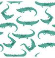 hand drawing cute crocodile seamless pattern vector image vector image