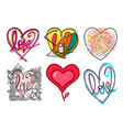 hand drawn different graphic style colored hearts vector image