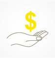 hand holding a dollar currency symbol vector image