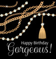 happy birthday gorgeous greeting card design vector image vector image