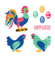 happy easter cock holy holiday rooster illu vector image