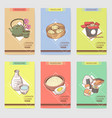 japanese food hand drawn brochures template vector image