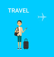 man traveller with bag holding smart phone gadget vector image