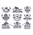 Monochrome badges of curling labels for sport