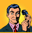 mouth shut serious man talking on a retro phone vector image vector image