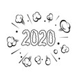 numbers 2020 hand drawn comic book explosion vector image vector image