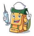 nurse backpack character cartoon style vector image