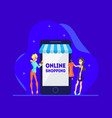 online shopping concept young women standing near vector image vector image