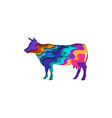 paper cut cow shape 3d origami vector image vector image