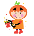 Pumpkin halloween boy vector image