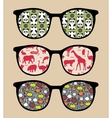 Retro sunglasses with reflection vector image vector image