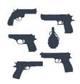 revolver pistols gun grenade silhouettes vector image vector image