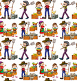 Seamless farmers and fresh products vector image