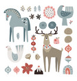 set christmas scandinavian animals and natural vector image