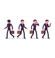 set of businessmen in walking poses rear and vector image vector image