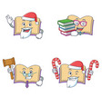 set of open book character with santa candy judge vector image vector image