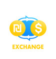 shekel to dollar exchange vector image vector image