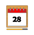 The Twenty-eight days on the calendar vector image vector image